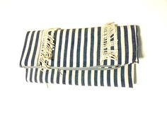 Fold over clutch with fringe - ivory and blue-grey stripe · Le Gendre · Online Store Powered by Storenvy