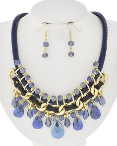"""Elegant Necklace and Earring set perfect for Prom, Galas, Birthdays, Graduations ~ work to evening! • LENGTH : 16 1/2"""" + EXT • EARRING : 1"""" • DROP : 11"""" • BURN.SILVER/CLEAR - FREE SHIPPING USA - Ships"""