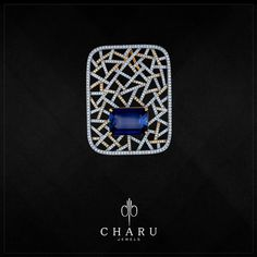 Break the jewelry rule book by donning something so significant that you instantly be the centre of attraction – opt for this stunning Bold And Bright Blue diamond studded gold pendant #CharuJewels #Jewels #Jewellery #Diamonds #RealDiamonds #Trendy #Traditional