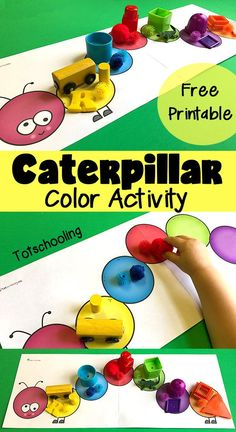 FREE color matching and sorting activity for toddlers and preschoolers featuring a caterpillar. Kids can place colored objects on top to match or sort the colors. Great Spring activity or to go along with Eric Carle& book Very Hungry Caterpillar. Bug Activities, Cognitive Activities, Preschool Activities, Preschool Printables, Preschool Learning, Color Activities For Toddlers, Preschool Readiness, Crafts Toddlers, Preschool Kindergarten