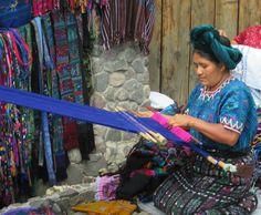 Guatemalan woman backstrap weaving