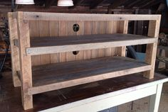 "Reclaimed Notched Media Console / Tv Stand With 3 Shelves (54"" Long)"