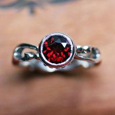 Garnet ring  bezel gemstone ring  January by metalicious on Etsy, $168.00