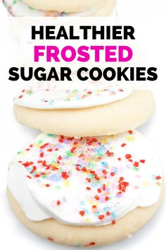 Looking for healthy sugar cookies that still pack in real sugar and butter? Try this healthy cookie recipe! It only cuts down on the original ingredients and uses a few healthy additions, rather than changing around a recipe completely. It even features a healthy vanilla frosting to include on top, and then you can add fresh fruit if you'd like!