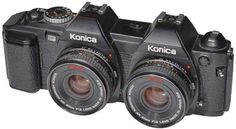 3D Camera for 35mm Film by Mats Wernersson, 1987: Made by merging two Konica FS 1 bodies, separated by one frame. Ingenious.