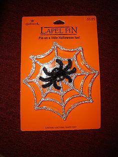 Vintage Hallmark Spider and Web Halloween Lapel Pin MOC