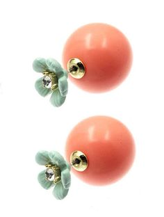 Dress You Up Flower and Ball Double Earrings. Also called peek a boo earrings- so lady like. So fun. So hot. So chic. Earrings are pierced pearls with flower fronts.