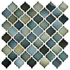 Merola Tile Hudson Tangier Atlantis 12-3/8 in. x 12-1/2 in. x 5 mm Porcelain Mosaic Tile, Blue/Green And Grey/High Sheen