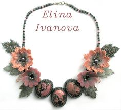 Beaded Flower necklace with rhodonite, exclusive handmade bib necklace 2014, grey, pink, nature style jewelry, gift for her