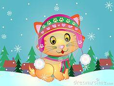 Vector Illustration of a cute Ginger Kitten wearing Cap and Muffler.