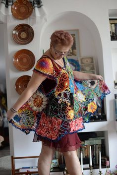 One crocheted free form  unique piece/vest by BlacksmithAnvil on Etsy