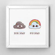 Before After Shower - Art Print Cute Puns, Funny Puns, Funny Cartoons, Funny Art, Funny Doodles, Kawaii Doodles, Cute Doodles, Cute Cartoon Drawings, Cool Drawings