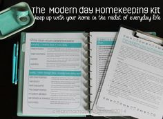 In need of some help to stay on top of the day-to-day routine of running a household? Check out The Modern Day Homekeeping Kit via Clean Mama Printables. It is loaded with all sorts of practical and helpful printables! Weekly Cleaning, Cleaning Hacks, Cleaning Routines, Cleaning Solutions, Printable Planner, Free Printable, Printables, Clean Mama, Home Binder