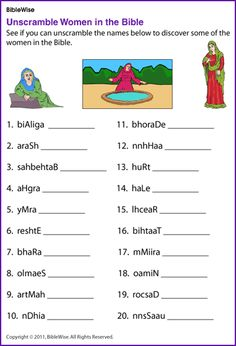 Unscramble Women in the Bible - Kids Korner - BibleWise