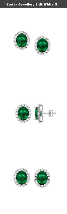 Pretty Jewellery 14K White Gold Fn 925 Silver Oval Emerald & Simulated Diamond Halo Stud Earrings. 14K White Gold Fn 925 Silver Oval Emerald & Simulated Diamond Halo Stud Earrings.