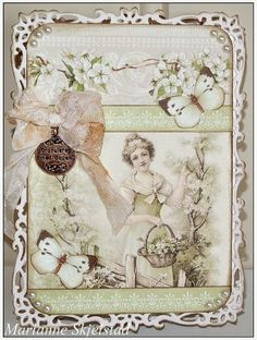 Shabby chic greetings card for Spring in shade of  Eau de Nil by Marianne