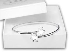 Elegant Autism ASD Awareness Puzzle Bangle Bracelet