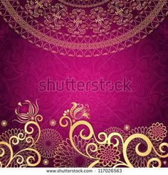 Vintage purple frame with gold flowers (vector EPS10)