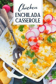 Green Chicken Enchilada Casserole, Green Chicken Enchiladas, Green Enchilada Sauce, Easy Dinner Recipes, Yummy Recipes, Easy Meals, Corn Tortillas, Ranch Style, Casserole Recipes