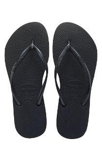 Havaianas SLIM Solid BLACK Brazilian Flip Flops Sandals Womens