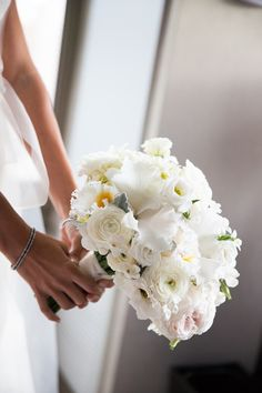 White Rose and Dusty Miller Bouquet