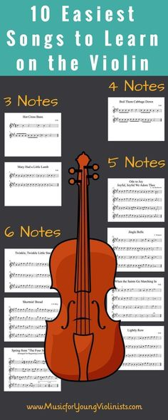 Easy Violin Songs | Here is a list of the 10 easiest songs to learn to play on the violin. Download this collection and start having fun learning these new pieces at: www.MusicforYoungViolinists.com #learnviolin #learntoplayviolin