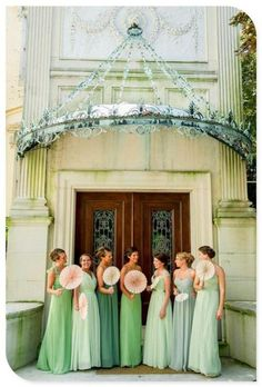 Bridesmaids in shades of green green