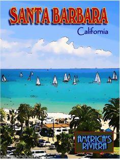 Santa-Barbara-California-United-States-America-Travel-Advertisement-Poster-2