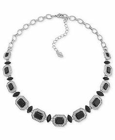 Carolee Necklace, Silver-Tone Jet Stone Emerald-Cut Collar Necklace