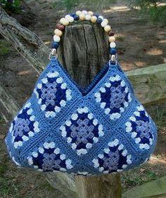 Blue square crochet bag! Love it!