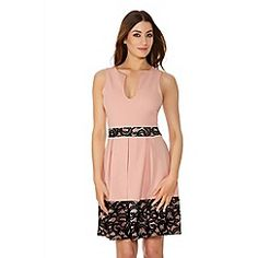 Pink And Black Lace Skater Dress