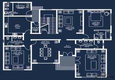 نموذج فيلا برنامج الشيخ زايد 2 2bhk House Plan, Model House Plan, House Layout Plans, Duplex House Plans, Bungalow House Plans, House Floor Design, Modern House Floor Plans, Duplex House Design, Home Design Floor Plans
