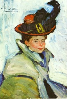Woman with hat, 1901, Pablo Picasso Size: 73x50 cm Medium: oil on canvas