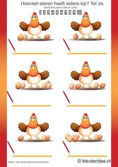 Hoeveel eieren heeft iedere kip, tel ze aan twee kanten bij elkaar op, kleuteridee.nl, thema lente, free printable.