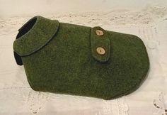 Hunter Green Herringbone Flannel Dog Coat