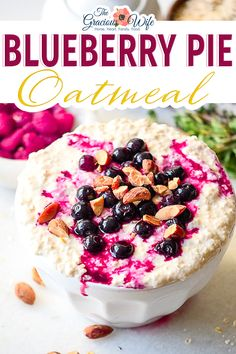 For a quick and easy breakfast, try this Blueberry Pie Oatmeal recipe that's packed with fresh (or frozen!) blueberries, with a little bit of cinnamon and brown sugar for a healthy breakfast in 10 minutes! Blueberry Pie Oatmeal is loaded with fresh blueberries and a hint of cinnamon and brown sugar. You can also sub the fresh berries for frozen. | The Gracious Wife @thegraciouswife #oatmealrecipes #blueberryoatmeal #healthybreakfast #quickbreakfast #kidfriendlybreakfast #thegraciouswife Breakfast Recipes, Snack Recipes, Healthy Recipes, Snacks, Sweets Recipes, Vegetarian Recipes, Blueberry Oatmeal, Quick And Easy Breakfast, Frozen Blueberries