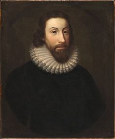 Oil painting of Governor John Winthrop, by Charles Osgood circa century. Winthrop, a slave owner, helped write the first law legalizing slavery in North America. Charles Osgood, Native American Population, Massachusetts Bay Colony, Plymouth Colony, The Dorchester, Hair Frizz, African Diaspora, American Presidents, Lace Collar
