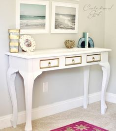 spray painted white console table
