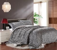 Get Beauty Sleep on Silk Zebra or Leopard Bedding Sets - For a lot less! Bed Comforter Sets, Queen Size Bedding, Satin Bedding, Luxury Bedding, Baby Bedding, Leopard Print Bedding, Zebra Print, Cheap Bedding Sets, Bedclothes
