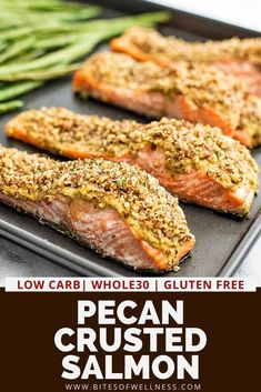 Pecan crusted salmon is the perfect healthy dinner! Perfect for weeknight meals but fancy enough for entertaining! Buttery salmon topped with dijon mustard and chopped pecans makes the perfect low carb, keto, paleo and Whole30 friendly meal! Only 7 ingredients and ready in 15 minutes!