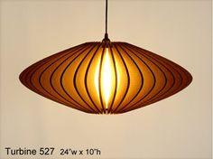 Pendant Lighting: Turbine 527 -- laser cut cardboard lamp