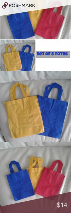 """Set /5 fabric tote bags NWOT NWOT Five tote bags in two convenient sizes for gifting, organizing, lunching or toting everything from books to crafts to shoes.  INCLUDES: Two LARGE bags – 1 blue and 1 yellow @ 12 3/4"""" high x 11"""" wide x 4 3/4"""" deep. and Three SMALL bags: 1 blue, 1 yellow, and 1 red @ 8 3/4"""" high x 6 7/8"""" wide x 3 1/2"""" deep. NEW never used, OFFER! Bags Totes"""
