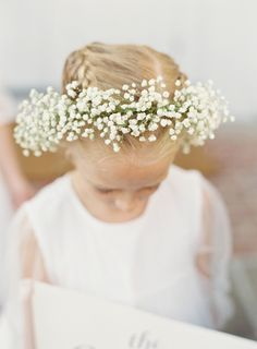 Pretty baby's breath floral crown: http://www.stylemepretty.com/2016/04/07/the-ultimate-autumn-seaside-wedding/ | Photography: Judy Pak - http://judypak.com/