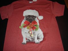 Holiday Red pug t-shirt large. Save 10% now through Dec 7 and Cyber Monday only receive a free Pug Rescue Network reusable shopping bag