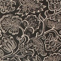 Celia Birtwell fabric Jacobean at Night Charcoal on Natural Linen