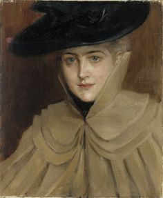 """Portrait of a Young Woman"" by Albert Gustaf Aristides Edelfelt July 1854 – 18 August was a Finnish painter. Female Portrait, Female Art, Turbans, Prinz Eugen, Buy Posters, Art Blog, Retro, New Art, Art History"