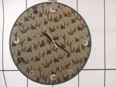 Embroidery hoop clock  'elephants' 2014