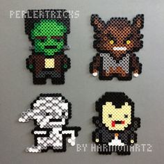 Your favorite classic horror movie monsters can be cute as well as scary. Just check out these classic nightmares brought to life in fusible Perler