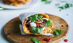 taco i vaffel med guacamole og salsa