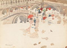 Maurice Prendergast - Umbrellas in the Rain, Venice (1898)
